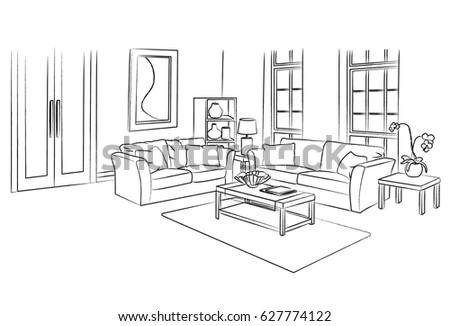 Living Room Sketch And Outline