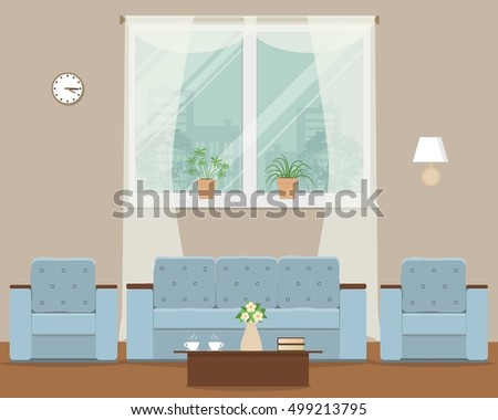 Living Room Vector Flat Illustration There Stock Vector 499213795 ...