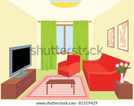 Living room. vector, no gradient, color full - stock vector
