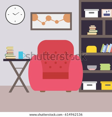 Living Room With Armchair And Book Shelf Cozy Home Interior Flat Style Vector Illustration