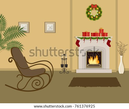 Living Room Fireplace Decorated Christmas Decorations Stock Photo ...