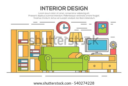 Image Of Sample Living Room Design With Lamp And Clock
