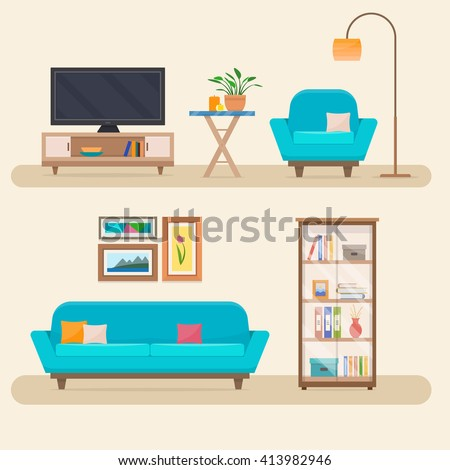Living room with furniture. Cozy interior with sofa and tv in living room.  Flat style vector illustration. - stock vector