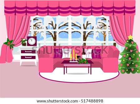 Living Room Furniture Sofa Table Christmas Stock Vector 517488898 ...