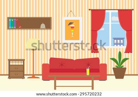 Living room with furniture, sofa, table, window, lamp, flat style vector illustration. - stock vector