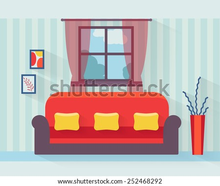 Living room with sofa and long shadows. Flat style vector illustration. - stock vector