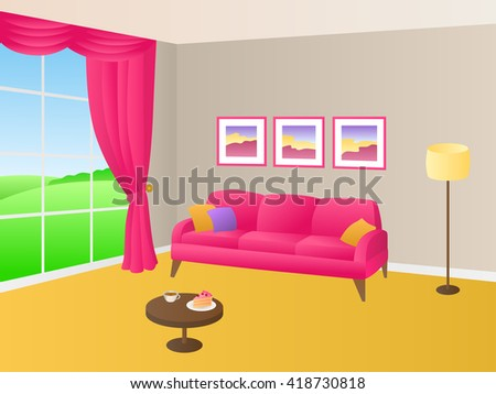 Living Room Yellow Pink Sofa Pillows Stock Vector 418730818 ...