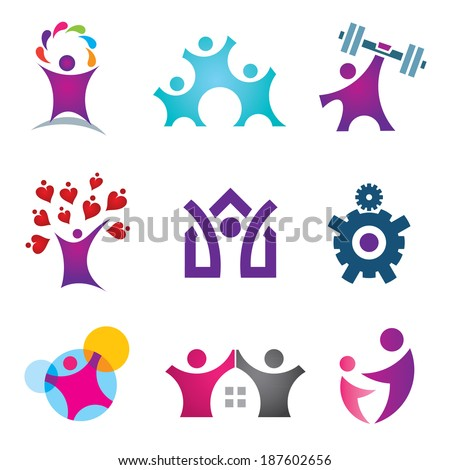Living the great life happy social people logo icon set - stock vector