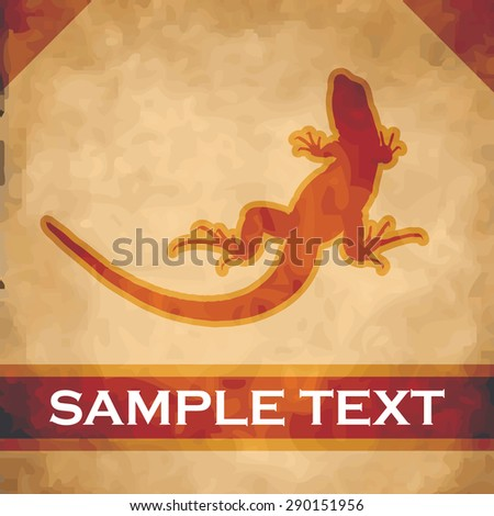 Lizard silhouette on parchment with dark brown and gold ribbon - stock vector