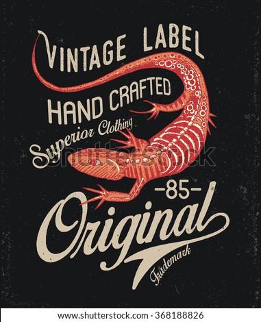 Lizard Vintage Print Design Badge - stock vector