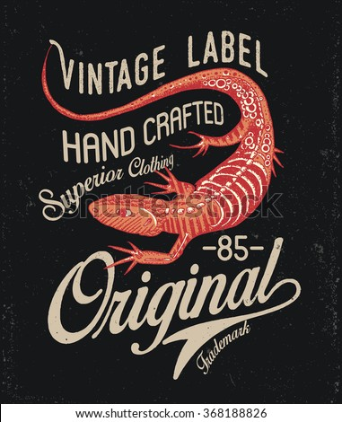 Lizard vintage t-shirt design badge. Can be used for print or otter purposes. Template. Vector illustration isolated on black.