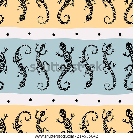 Lizards. Abstract background. Ethnic Vector pattern. Seamless background.