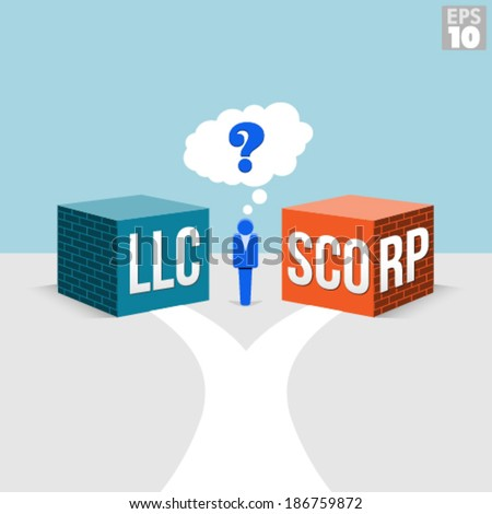 LLC or S-Corporation Options for a Small Business Owner with a road leading to both forms of incorporation. - stock vector