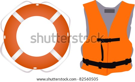 Llife jacket ,life buoys - stock vector