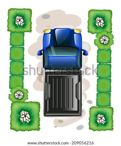 lllustration of a topview of a blue truck parked on a white background - stock vector