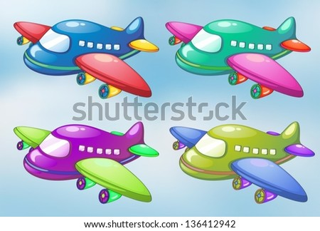 lllustration of the four toy planes in the sky - stock vector
