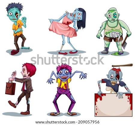 lllustration of the scary zombies on a white background