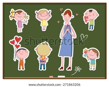 llustration of Kids Celebrating Teachers' Day/ stickers  - stock vector