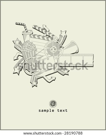 load the movie - vector - line drawing - stock vector