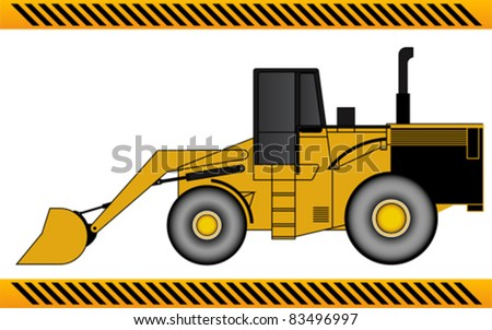 Loader excavator construction machinery equipment isolated - stock vector