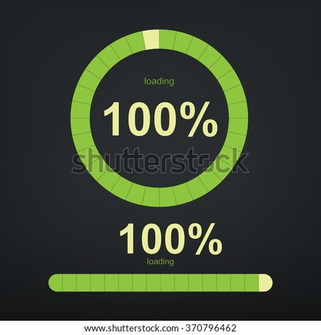 """Loading bars and spinner with """"Loading 100 %"""" text. Vector abstract symbol for webpage design. - stock vector"""