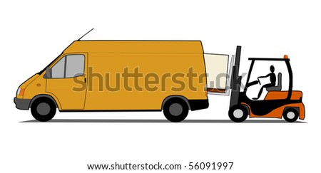 Loading delivery van - stock vector