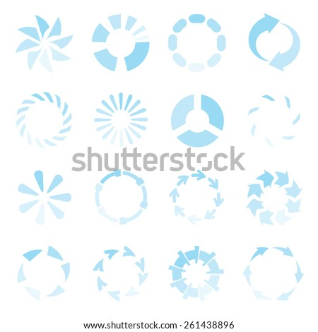 loading icons, preloaders, progress Indicators icons blue color theme - stock vector
