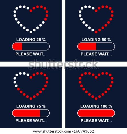 Loading love . please wait...  - stock vector