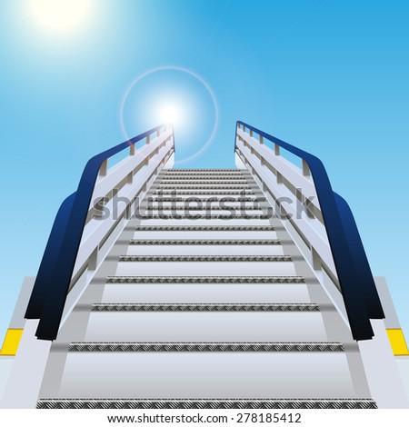 Loading ramp on blue background - stock vector