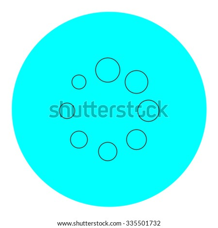 Loading, Streaming, Buffering, Play, Go. please wait. Black outline flat icon on blue circle. Simple vector illustration pictogram on white background