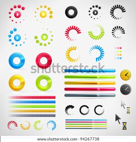 Loading, Streaming, Buffering, Play, Go set of Vector Icons - stock vector