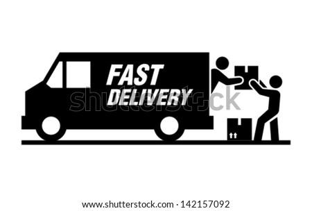Loading truck - stock vector
