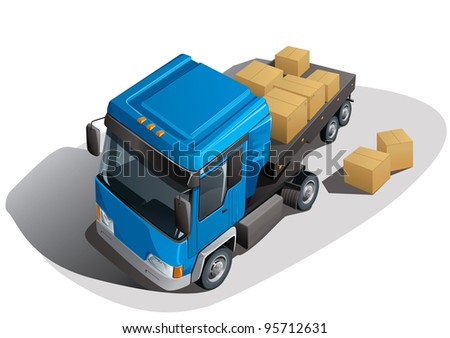 loading truck with boxes - stock vector