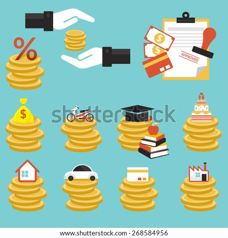 Loan, Coins with Objects Credit, Business Marketing Banking Finance and Money - stock vector