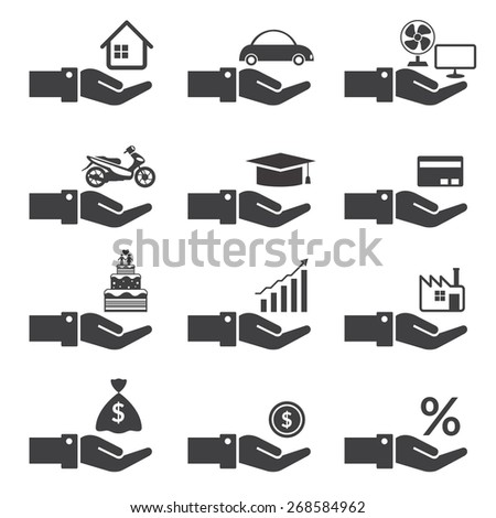 Loan, Hands with Objects Credit Mono Set, Business Marketing Banking Finance and Money - stock vector