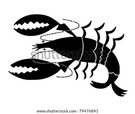 Lobster Icon - Retro Clipart Illustration - stock vector