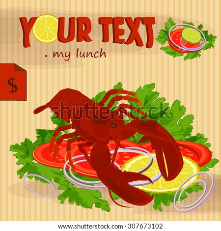 Lobster poster design. Vector Image - stock vector