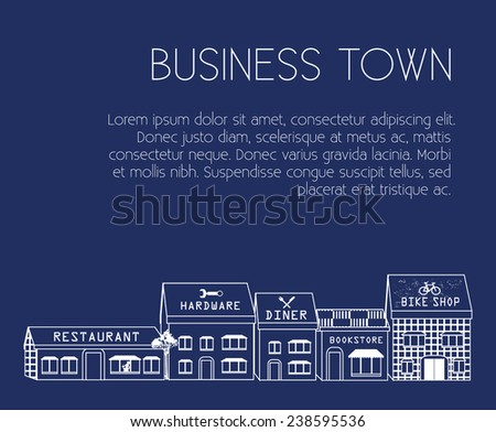 Local Business Buildings vector illustration. Set of local business buildings such as: restaurant, hardware store, diner, book store and so on.