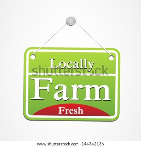 Local farm food label - stock vector