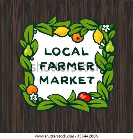 Local farmer market, farm logo design, vector illustration - stock vector