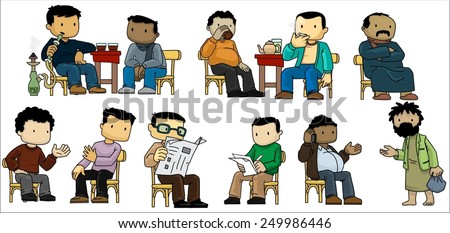 Locals Hanging Out In a Cafe-vector - stock vector