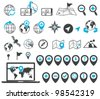 Location and destination icons - stock vector