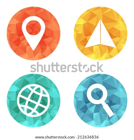 location and navigation icons. Vector illustration. - stock vector