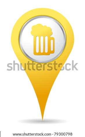 location bar icon with beer drawing - stock vector