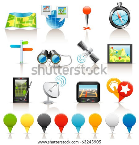 Location icons - stock vector