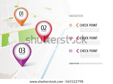 location icons on the map road infographic with colorful pin pointer concept of route