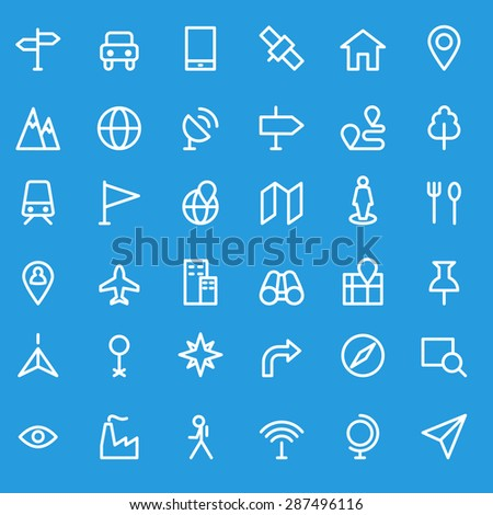 Location icons, simple and thin line design - stock vector