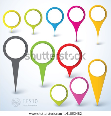 location icons. Vector design element set. - stock vector