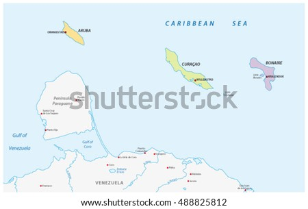 Location Map Abc Islands Caribbean Sea Stock Vector 488825812