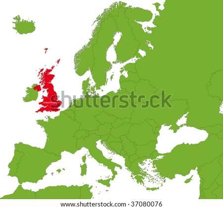 Location of the United Kingdom on the Europa continent - stock vector